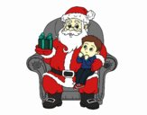 Santa Claus and child at Christmas
