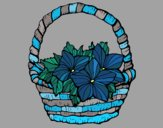 Coloring page Basket of flowers 2 painted byJena