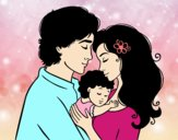 Coloring page Hug family painted byalexadra