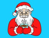 Coloring page Santa Claus with coffee cup painted byLornaAnia
