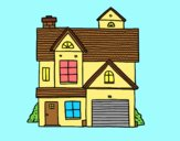 Coloring page American family house painted byLornaAnia