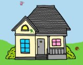 Coloring page Cottage of the village painted byLornaAnia