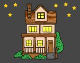 Coloring page Two-story house with attic painted byLornaAnia