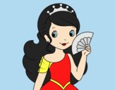 Coloring page Princess and Hand fan painted byLornaAnia