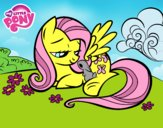 Fluttershy with a little rabbit