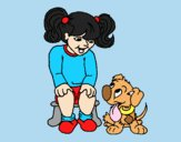Coloring page Little girl with her puppy painted byLornaAnia