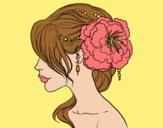 Coloring page Flower wedding hairstyle painted byLornaAnia