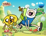 Coloring page Finn and Jake painted byx4stacy