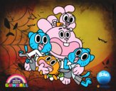 Coloring page Gumball and happy friends painted byx4stacy