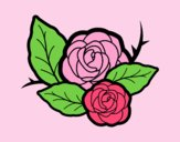 Coloring page Two roses painted byLornaAnia