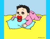 Coloring page Baby playing painted byLornaAnia