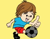 Coloring page Boy playing football painted byLornaAnia
