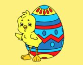 Coloring page Sympathetic chick with Easter egg painted byLornaAnia