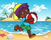 Child playing with beach ball