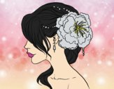 Coloring page Flower wedding hairstyle painted byAnitaR