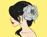 Coloring page Flower wedding hairstyle painted byJessicaB
