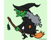Witch on flying broomstick