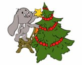 Rabbit decorating Christmas tree