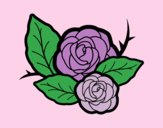 Coloring page Two roses painted byJessicaB