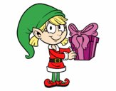 Elf with a present