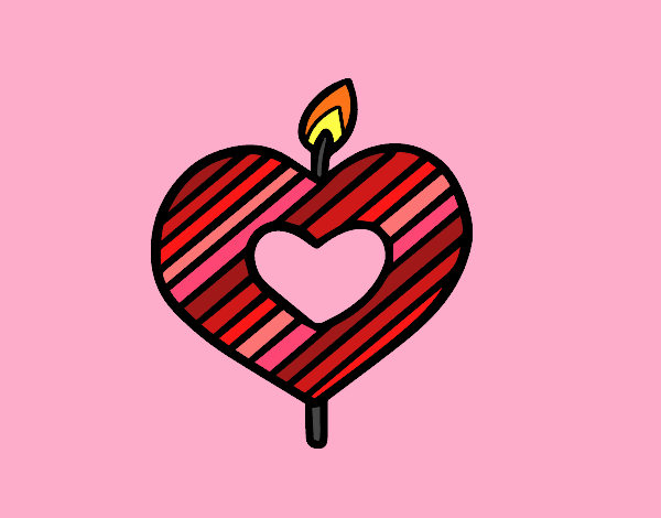 Heart-shaped candle