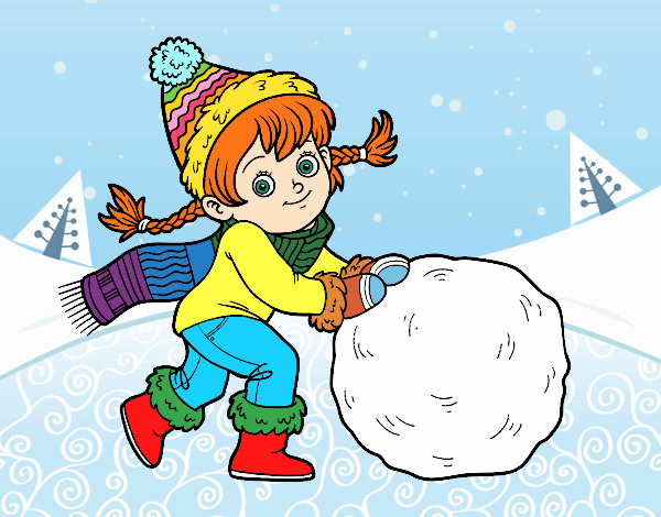 Little girl with big snowball