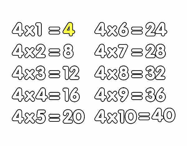 The 4 times table