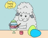 Little sheep coloring easter eggs