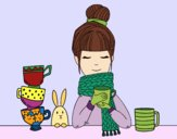 Girl with scarf and cup of tea