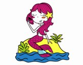 Mermaid sitting on a rock with a sea snail