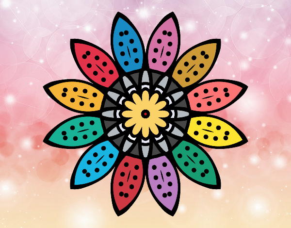 Flower mandala with petals