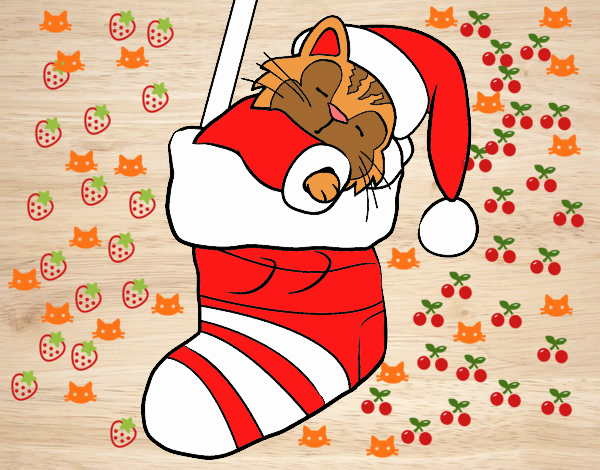 Colored page Kitten sleeping in a Christmas stocking ...