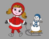 Little girl with sleigh and snowman