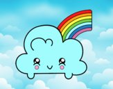 Cloud with Rainbow Kawaii